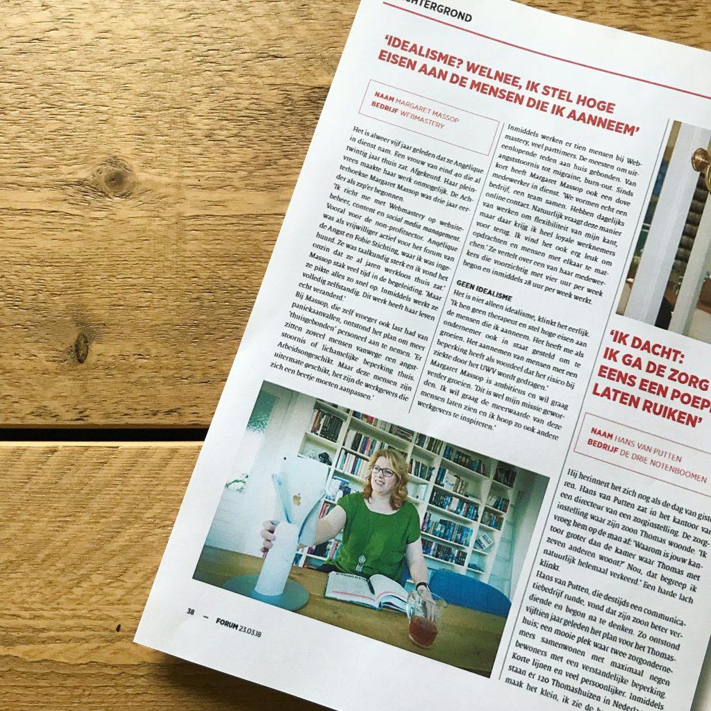 Inclusief ondernemen - Interview met Margaret in Forum Magazine