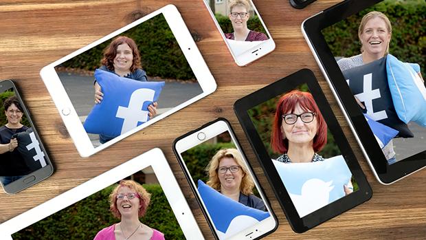 De gezichten van alle medewerkers op tablet en smartphones