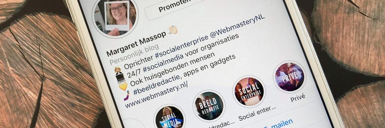 foto Margarets instagram met stories waarop een aparte cover zit