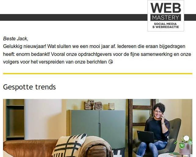 Nieuwsbrief Webmastery januari 2019