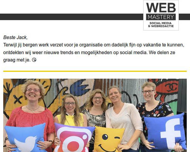 Nieuwsbrief Webmastery juli 2019